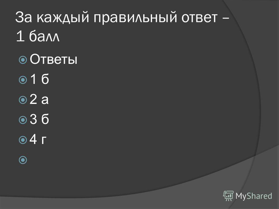 За каждый правильный ответ – 1 балл Ответы 1 б 2 а 3 б 4 г