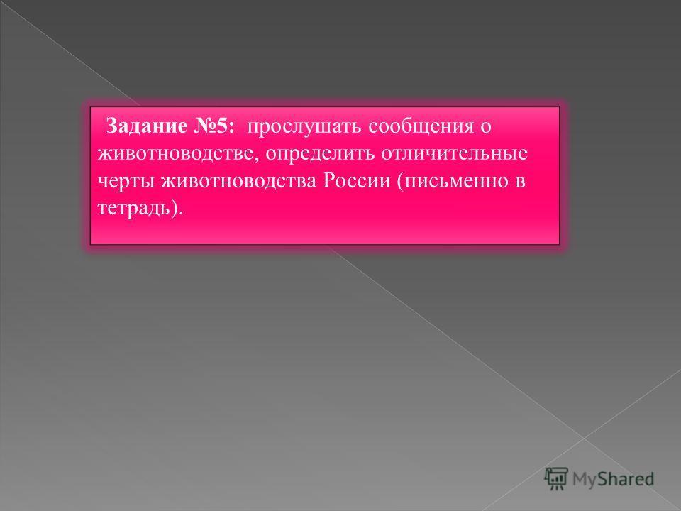 Задание 5: прослушать сообщения о животноводстве, определить отличительные черты животноводства России (письменно в тетрадь).