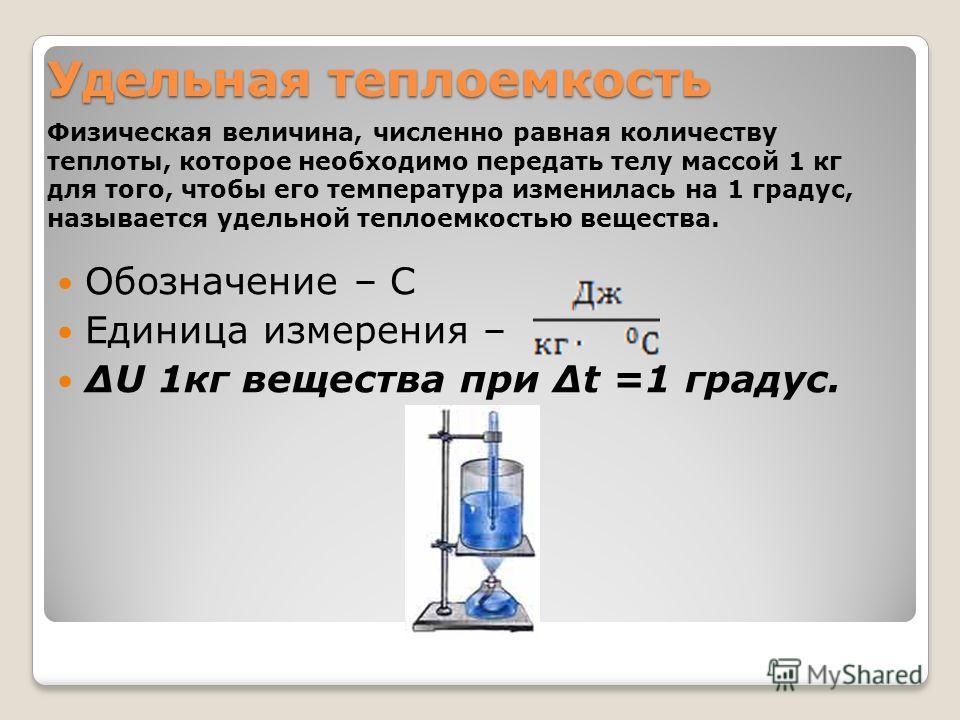 Удельная теплоемкость Обозначение – С Единица измерения – ΔU 1кг вещества при Δt =1 градус. Физическая величина, численно равная количеству теплоты, которое необходимо передать телу массой 1 кг для того, чтобы его температура изменилась на 1 градус,