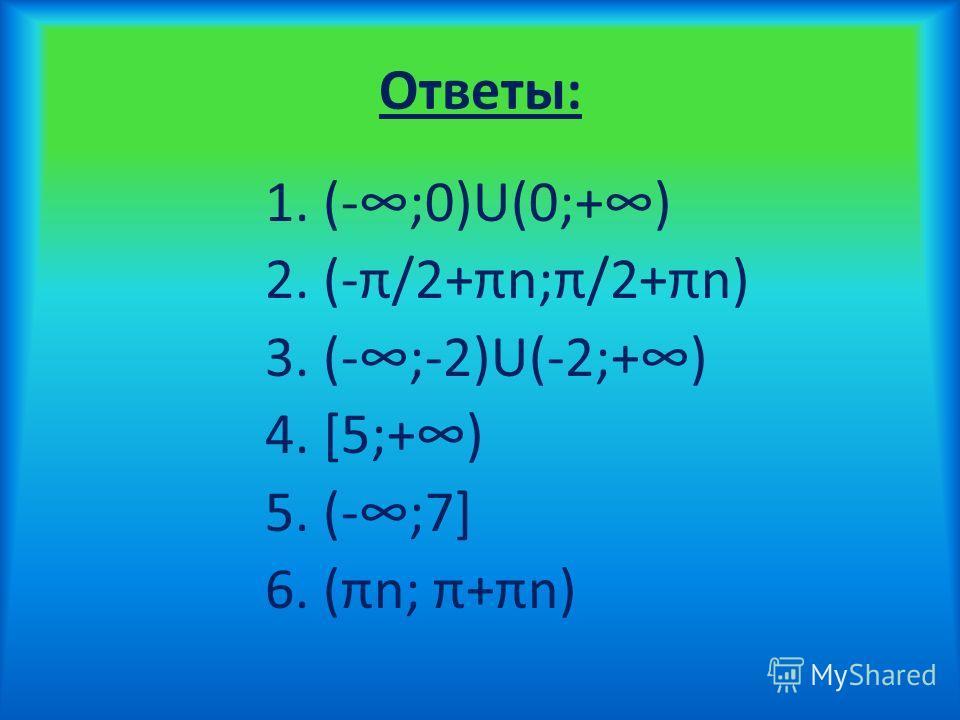 Ответы: 1. (-;0)U(0;+) 2. (-π/2+πn;π/2+πn) 3. (-;-2)U(-2;+) 4. [5;+) 5. (-;7] 6. (πn; π+πn)