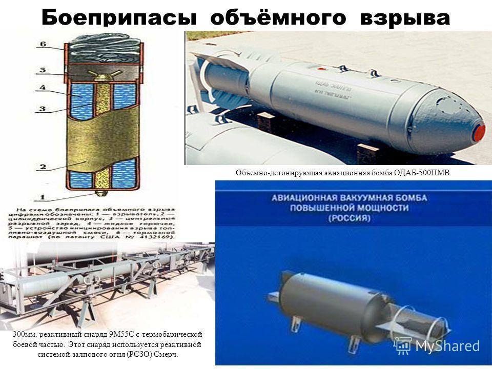Боеприпасы объёмного взрыва Объемно-детонирующая авиационная бомба ОДАБ-500ПМВ 300мм. реактивный снаряд 9М55С с термобарической боевой частью. Этот снаряд используется реактивной системой залпового огня (РСЗО) Смерч.