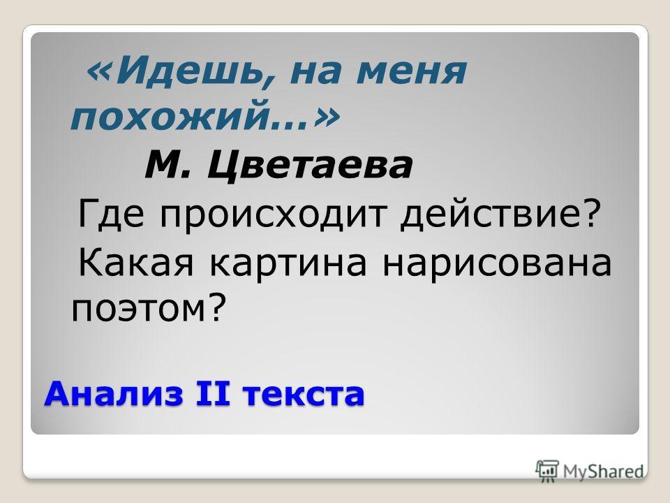 Анализ II текста «Идешь, на меня похожий…» М. Цветаева Где происходит действие? Какая картина нарисована поэтом?