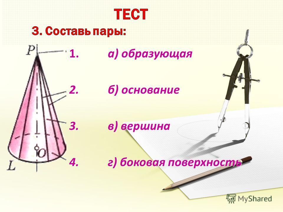 1. а) образующая 2. б) основание 3. в) вершина 4. г) боковая поверхность