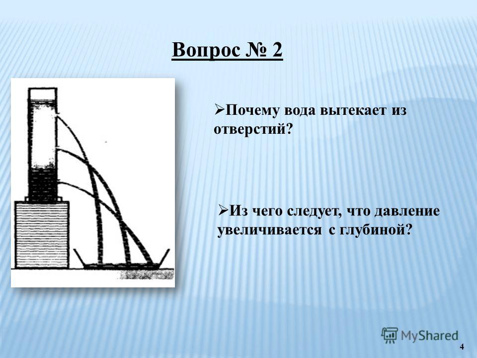 Вопрос 2 Почему вода вытекает из отверстий? Из чего следует, что давление увеличивается с глубиной? 4