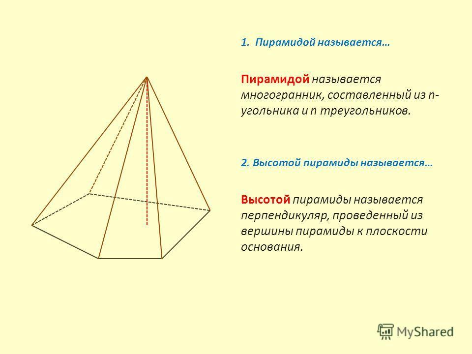 1. Пирамидой называется… Пирамидой называется многогранник, составленный из n- угольника и n треугольников. 2. Высотой пирамиды называется… Высотой пирамиды называется перпендикуляр, проведенный из вершины пирамиды к плоскости основания.