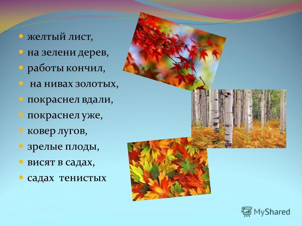 желтый лист, на зелени дерев, работы кончил, на нивах золотых, покраснел вдали, покраснел уже, ковер лугов, зрелые плоды, висят в садах, садах тенистых