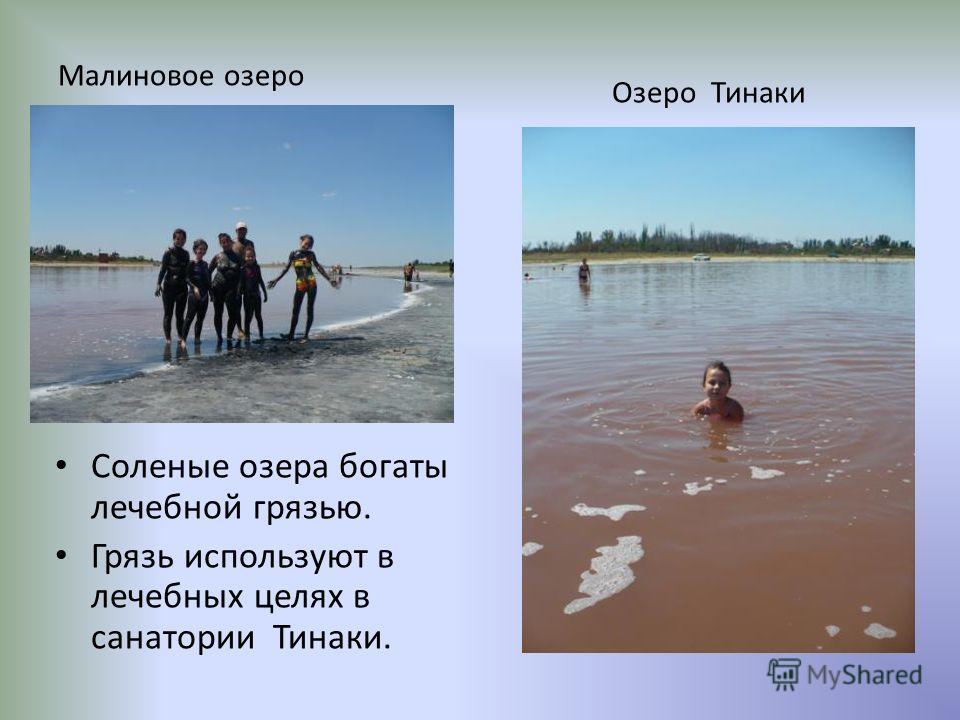Малиновое озеро Соленые озера богаты лечебной грязью. Грязь используют в лечебных целях в санатории Тинаки. Озеро Тинаки