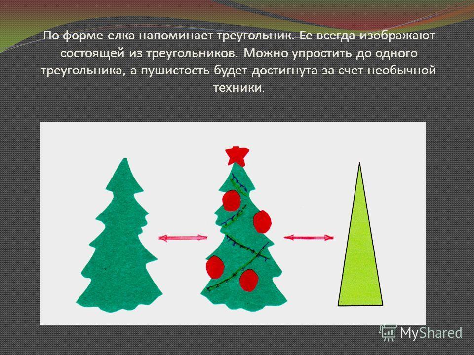 По форме елка напоминает треугольник. Ее всегда изображают состоящей из треугольников. Можно упростить до одного треугольника, а пушистость будет достигнута за счет необычной техники.