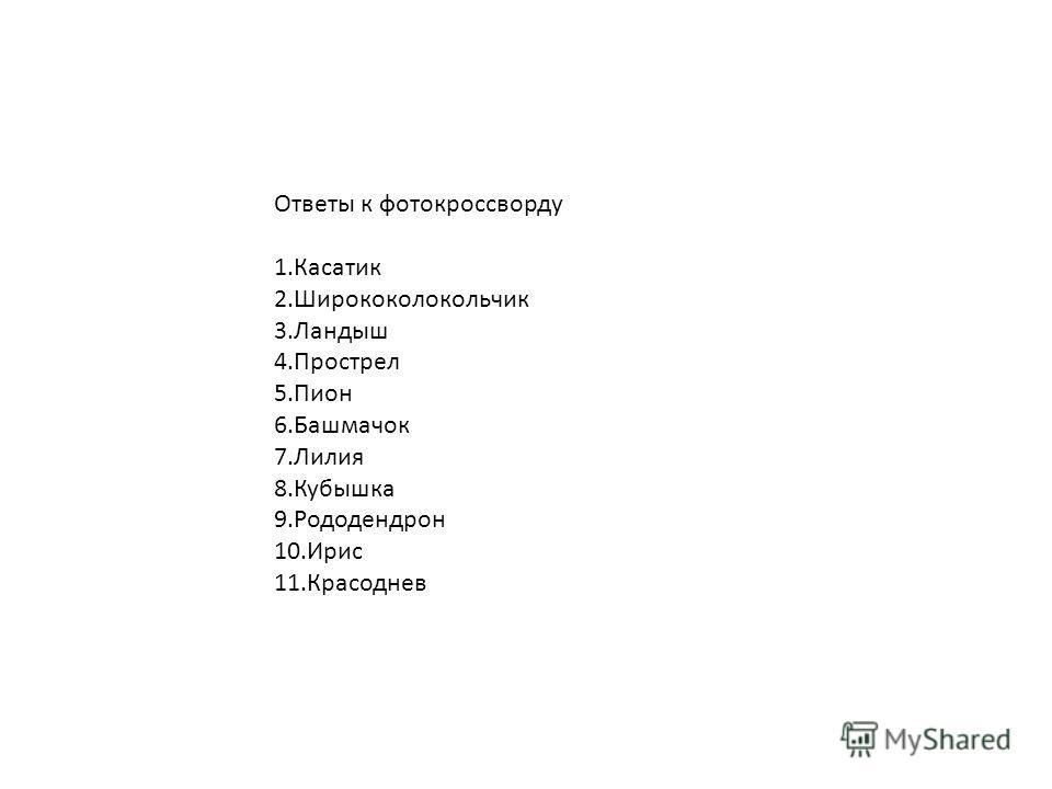 Ответы к фотокроссворду 1.Касатик 2.Ширококолокольчик 3.Ландыш 4.Прострел 5.Пион 6.Башмачок 7.Лилия 8.Кубышка 9.Рододендрон 10.Ирис 11.Красоднев