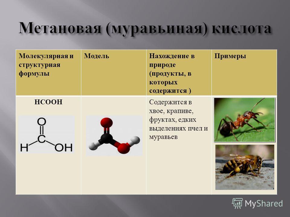 Молекулярная и структурная формулы Модель Нахождение в природе ( продукты, в которых содержится ) Примеры НСООН Содержится в хвое, крапиве, фруктах, едких выделениях пчел и муравьев
