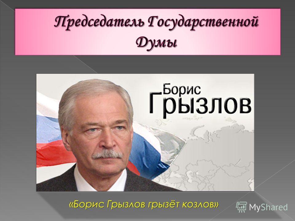 «Борис Грызлов грызёт козлов»