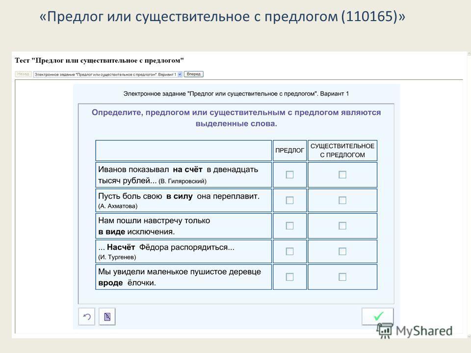 «Предлог или существительное с предлогом (110165)»