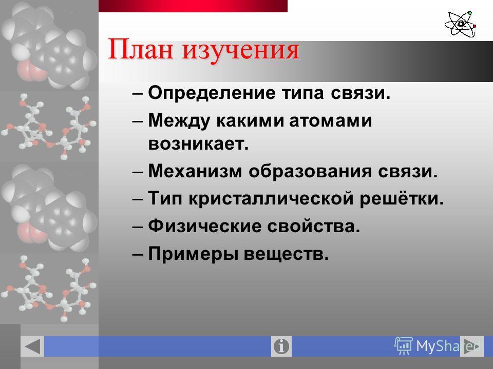План изучения –Определение типа связи. –Между какими атомами возникает. –Механизм образования связи. –Тип кристаллической решётки. –Физические свойства. –Примеры веществ.