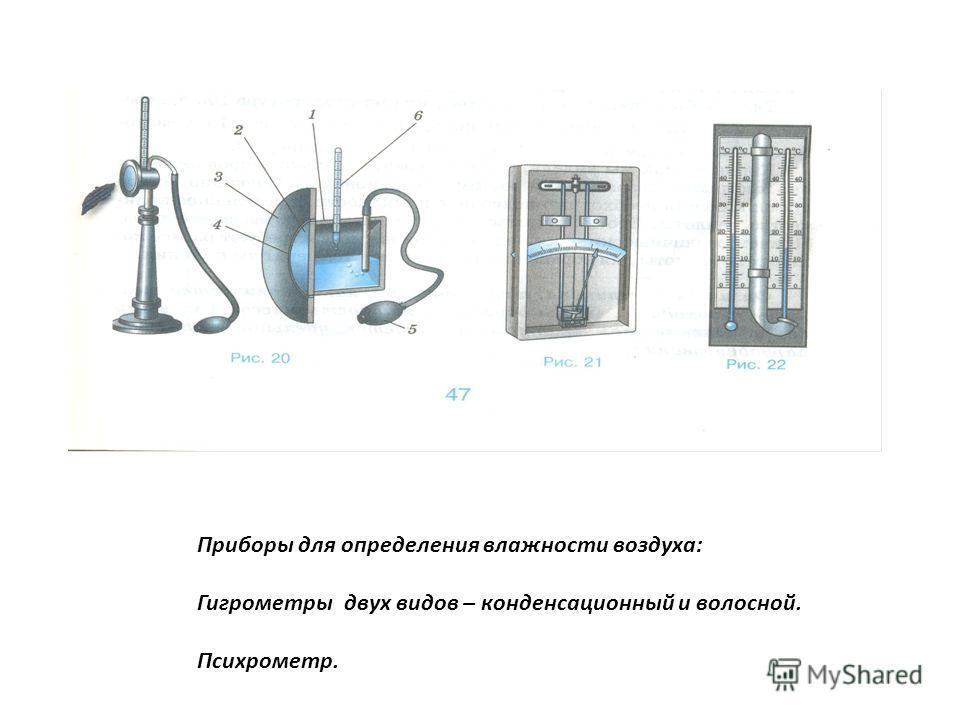 Приборы для определения влажности воздуха: Гигрометры двух видов – конденсационный и волосной. Психрометр.