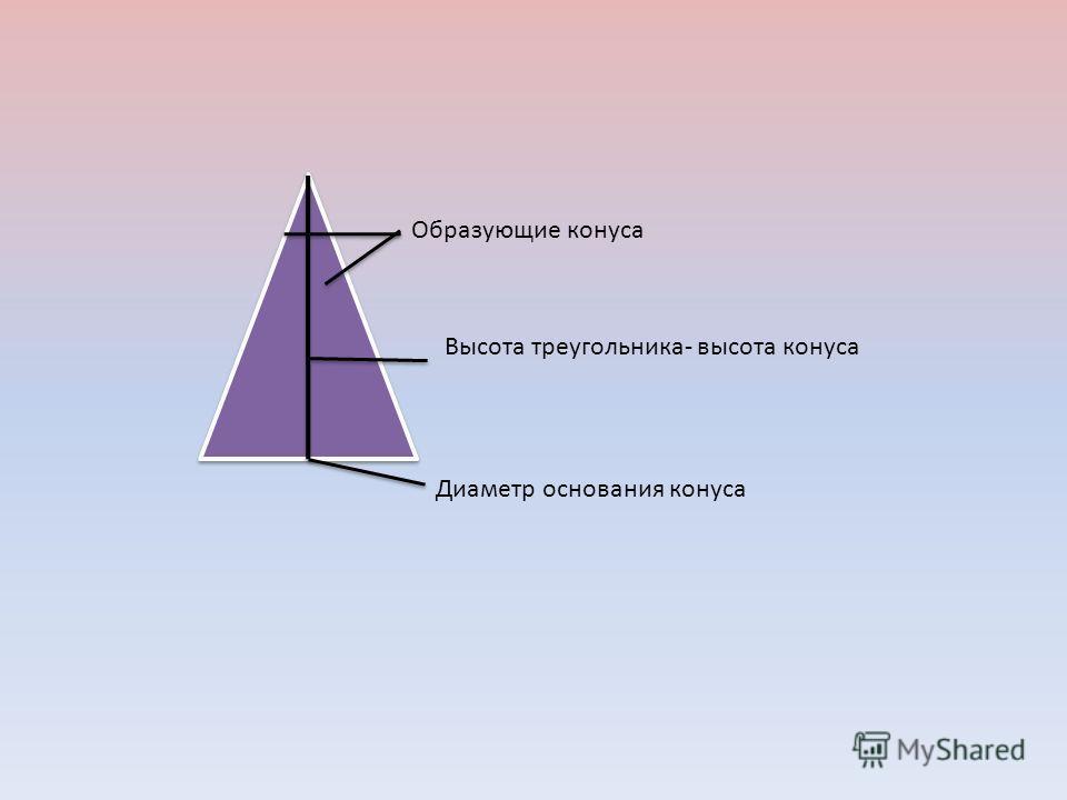 Образующие конуса Высота треугольника- высота конуса Диаметр основания конуса