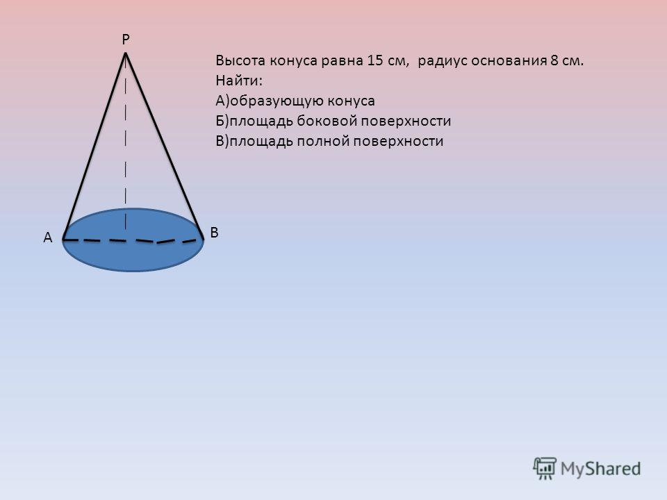 Р В А Высота конуса равна 15 см, радиус основания 8 см. Найти: А)образующую конуса Б)площадь боковой поверхности В)площадь полной поверхности