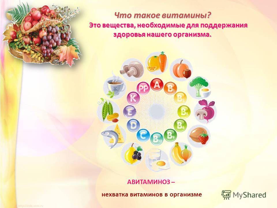Что такое витамины? Это вещества, необходимые для поддержания здоровья нашего организма. Это вещества, необходимые для поддержания здоровья нашего организма. АВИТАМИНОЗ – нехватка витаминов в организме