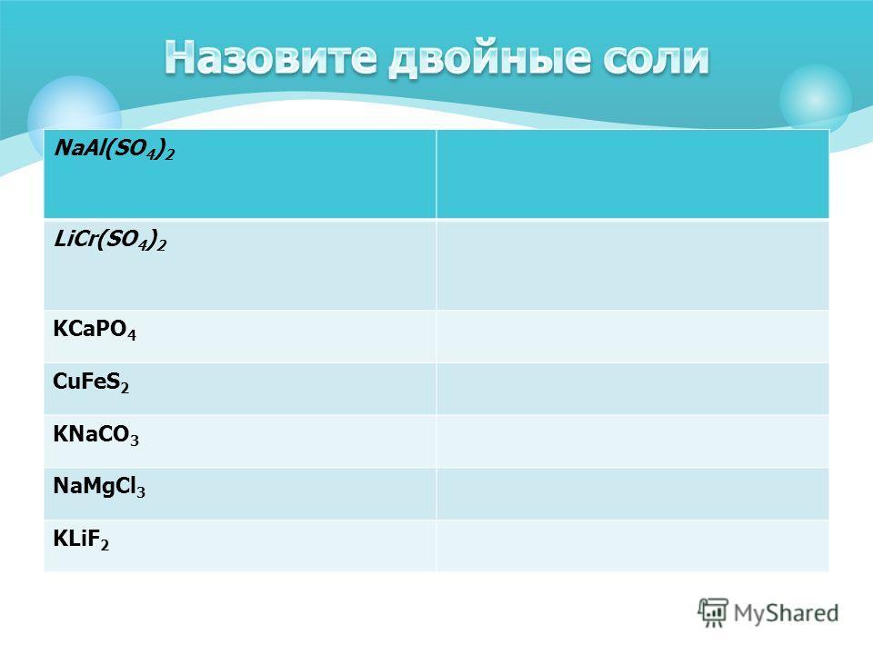 NaAl(SO 4 ) 2 LiCr(SO 4 ) 2 KCaPO 4 CuFeS 2 KNaCO 3 NaMgCl 3 KLiF 2
