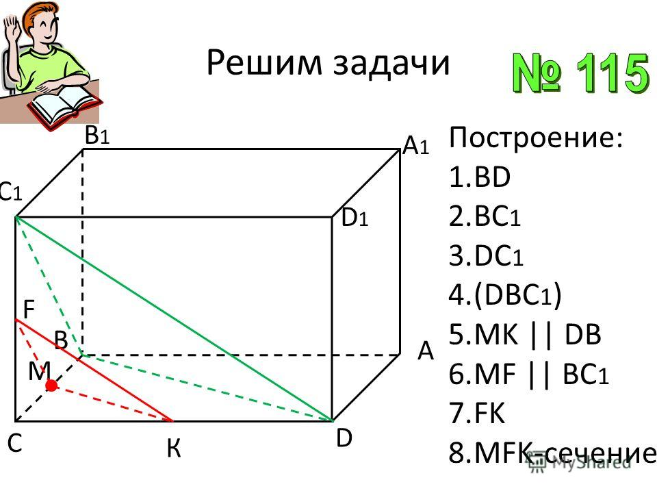 А В M D B1B1 D1D1 C А1А1 C1C1 К F Построение: 1.ВD 2.BC 1 3.DC 1 4.(DBC 1 ) 5.MK || DB 6.MF || BC 1 7.FK 8.MFK-сечение