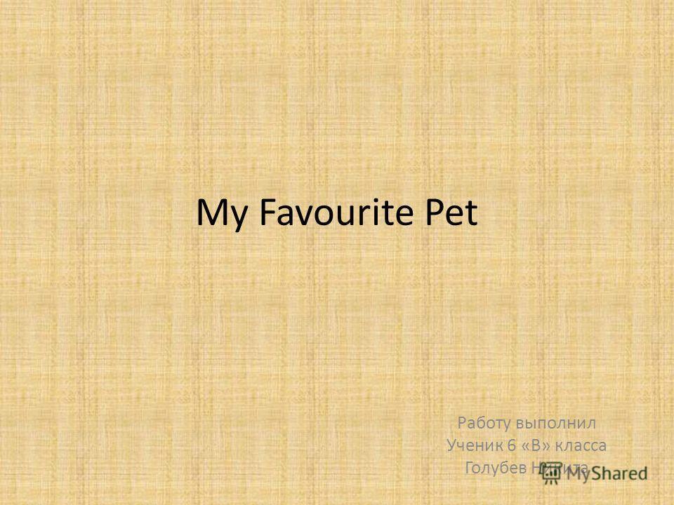 My Favourite Pet Работу выполнил Ученик 6 «В» класса Голубев Никита