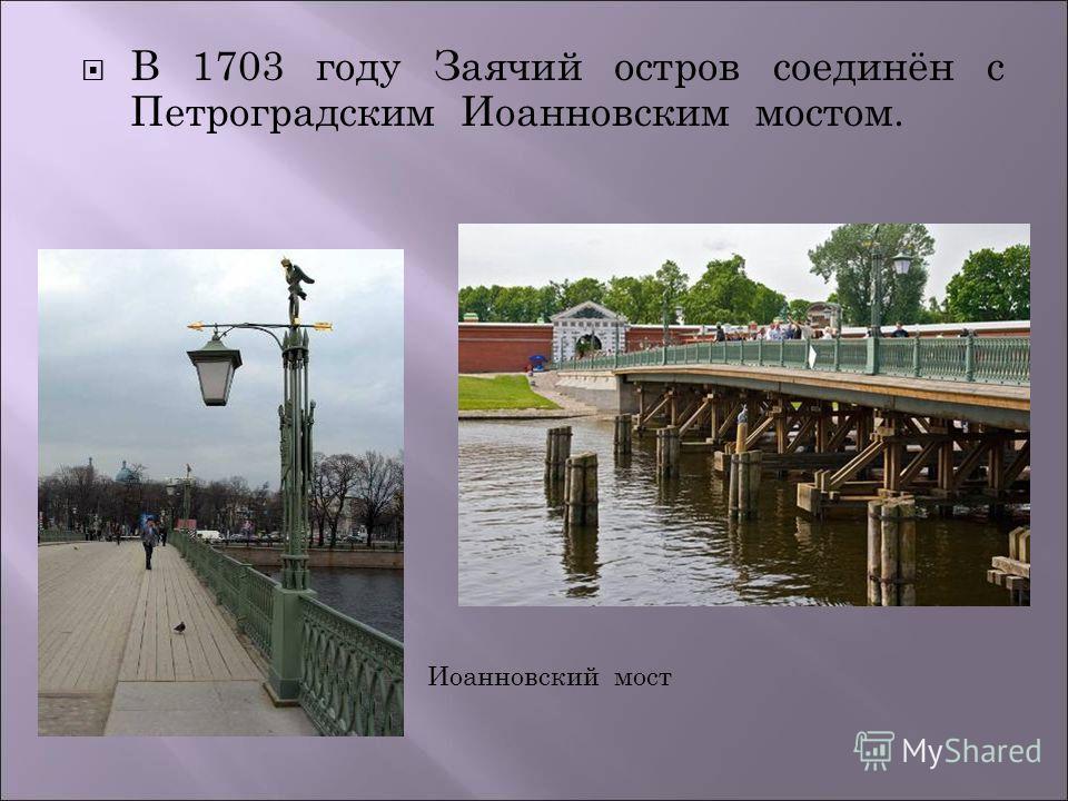 В 1703 году Заячий остров соединён с Петроградским Иоанновским мостом. Иоанновский мост