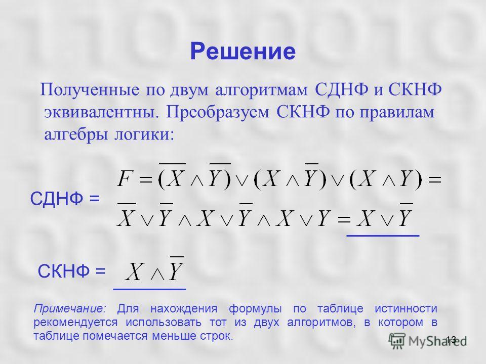 13 Решение Полученные по двум алгоритмам СДНФ и СКНФ эквивалентны. Преобразуем СКНФ по правилам алгебры логики: СДНФ = СКНФ = Примечание: Для нахождения формулы по таблице истинности рекомендуется использовать тот из двух алгоритмов, в котором в табл