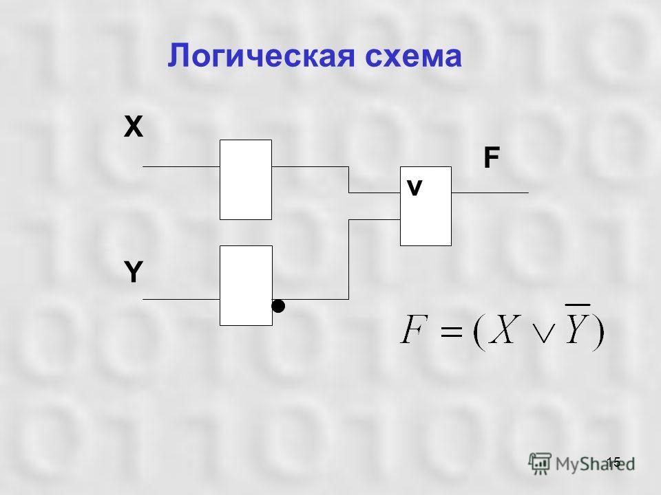 15 Логическая схема v F X Y