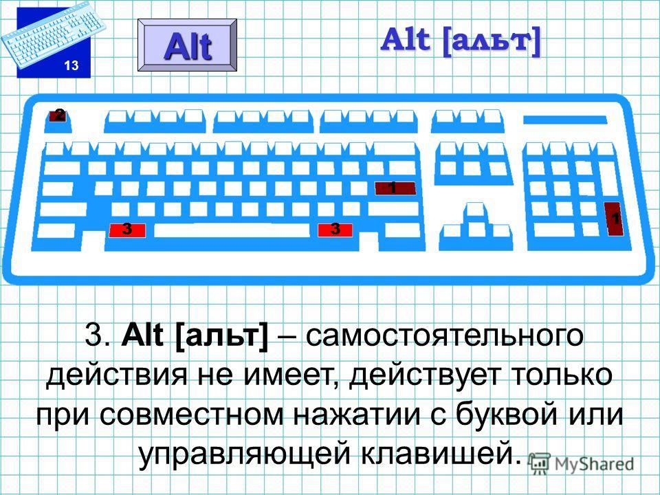 13 Alt [альт] 3. Alt [альт] – самостоятельного действия не имеет, действует только при совместном нажатии с буквой или управляющей клавишей. Alt 1 1 2 3 3