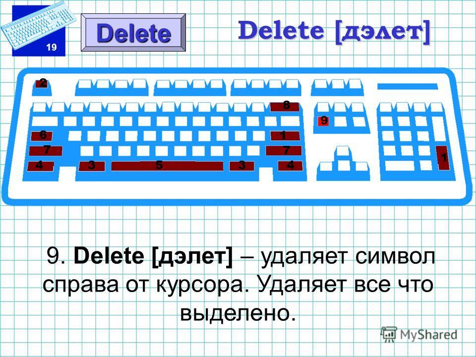 19 Delete [дэлет] 9. Delete [дэлет] – удаляет символ справа от курсора. Удаляет все что выделено. Delete 1 1 2 3 3 4 45 6 7 7 8 9