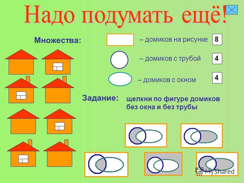 – домиков на рисунке Множества: 8 – домиков с трубой 4 – домиков с окном 4 Задание: щелкни по фигуре домиков без окна и без трубы