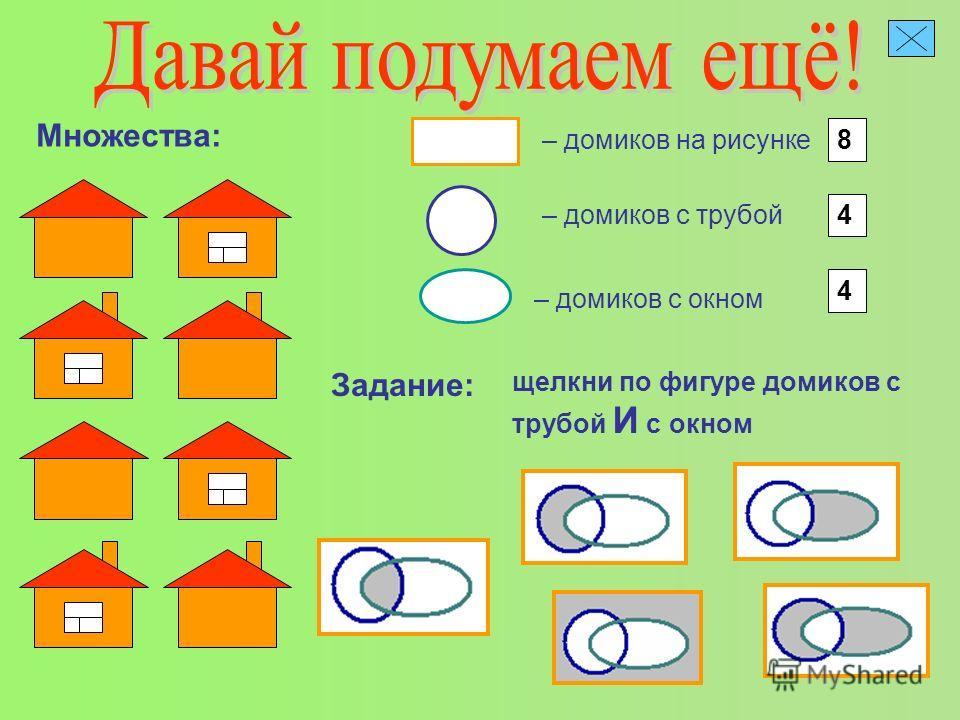 – домиков на рисунке Множества: 8 – домиков с трубой 4 – домиков с окном 4 Задание: щелкни по фигуре домиков с трубой И с окном