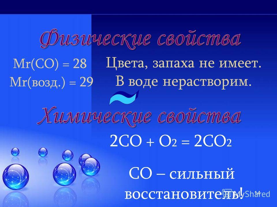 13 ПДК (СО) = 20 мг/м 3 Угарный газ - ядовитое вещество! 2С + О 2 = 2СО СО 2 + С = 2СО
