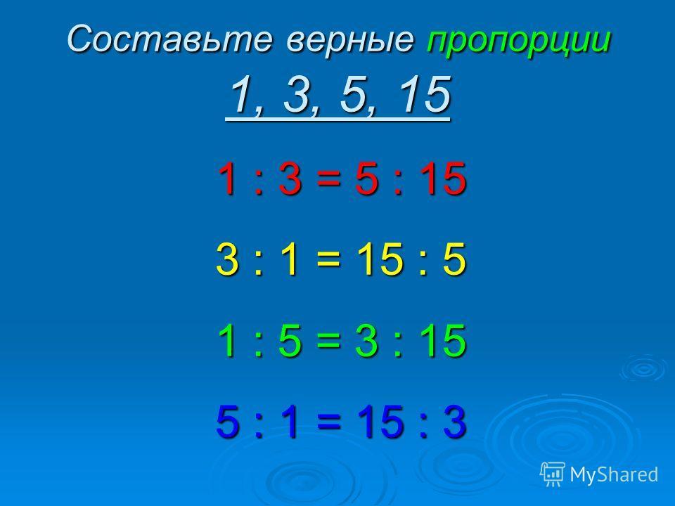 Составьте верные пропорции 1, 3, 5, 15 1 : 3 = 5 : 15 3 : 1 = 15 : 5 1 : 5 = 3 : 15 5 : 1 = 15 : 3