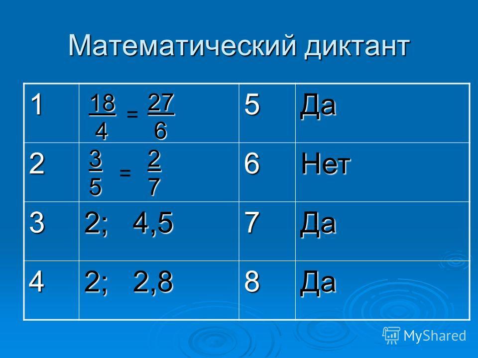 Математический диктант 15Да 26Нет 3 2; 4,5 7Да 4 2; 2,8 8Да 27 6 18 4 = = 3527