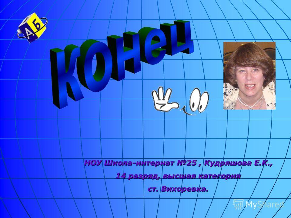 НОУ Школа-интернат 25, Кудряшова Е.К., 14 разряд, высшая категория ст. Вихоревка.