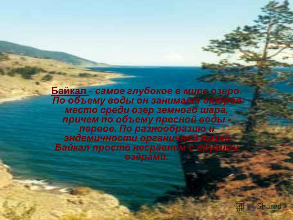 Байкал самое глубокое в мире озеро