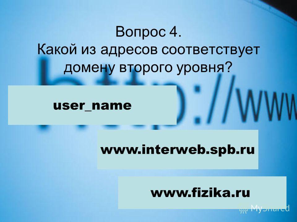 Вопрос 4. Какой из адресов соответствует домену второго уровня? user_name www.interweb.spb.ru www.fizika.ru