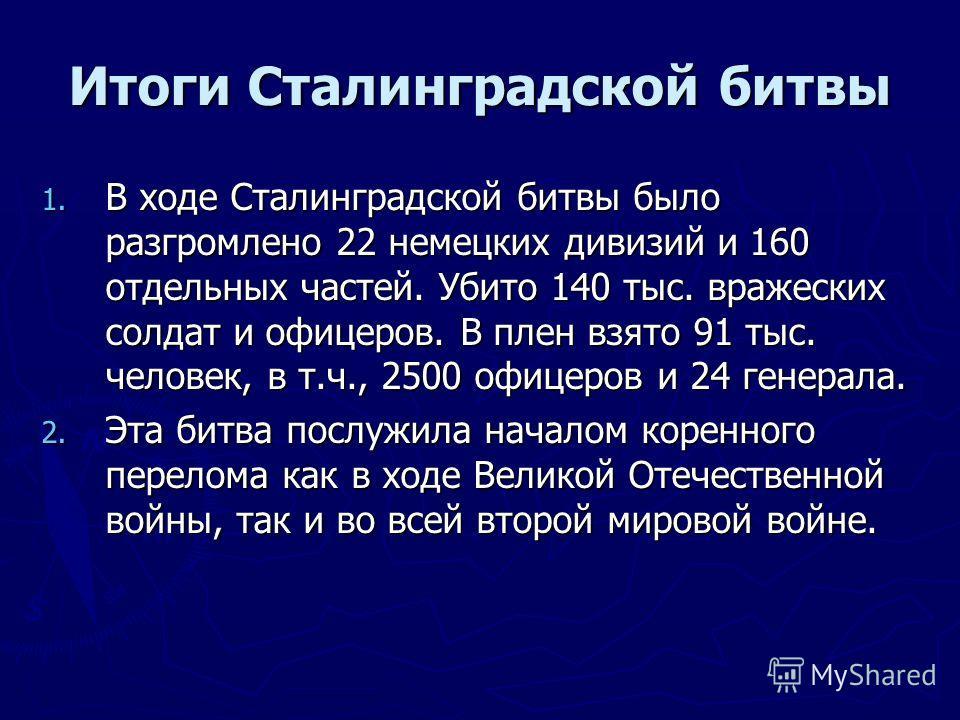 Итоги Сталинградской битвы 1. В ходе Сталинградской битвы было разгромлено 22 немецких дивизий и 160 отдельных частей. Убито 140 тыс. вражеских солдат и офицеров. В плен взято 91 тыс. человек, в т.ч., 2500 офицеров и 24 генерала. 2. Эта битва послужи