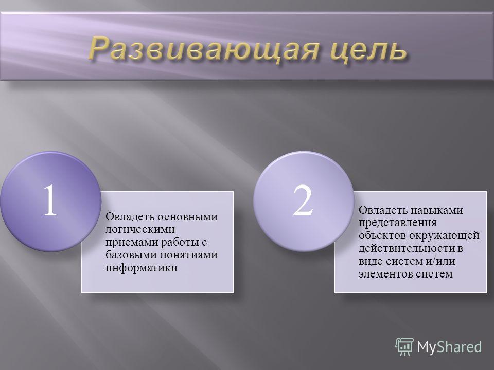 Овладеть основными логическими приемами работы с базовыми понятиями информатики 1 Овладеть навыками представления объектов окружающей действительности в виде систем и/или элементов систем 2