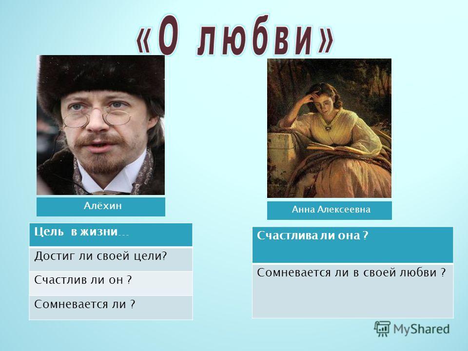 Алёхин Анна Алексеевна Цель в жизни… Достиг ли своей цели? Счастлив ли он ? Сомневается ли ? Счастлива ли она ? Сомневается ли в своей любви ?