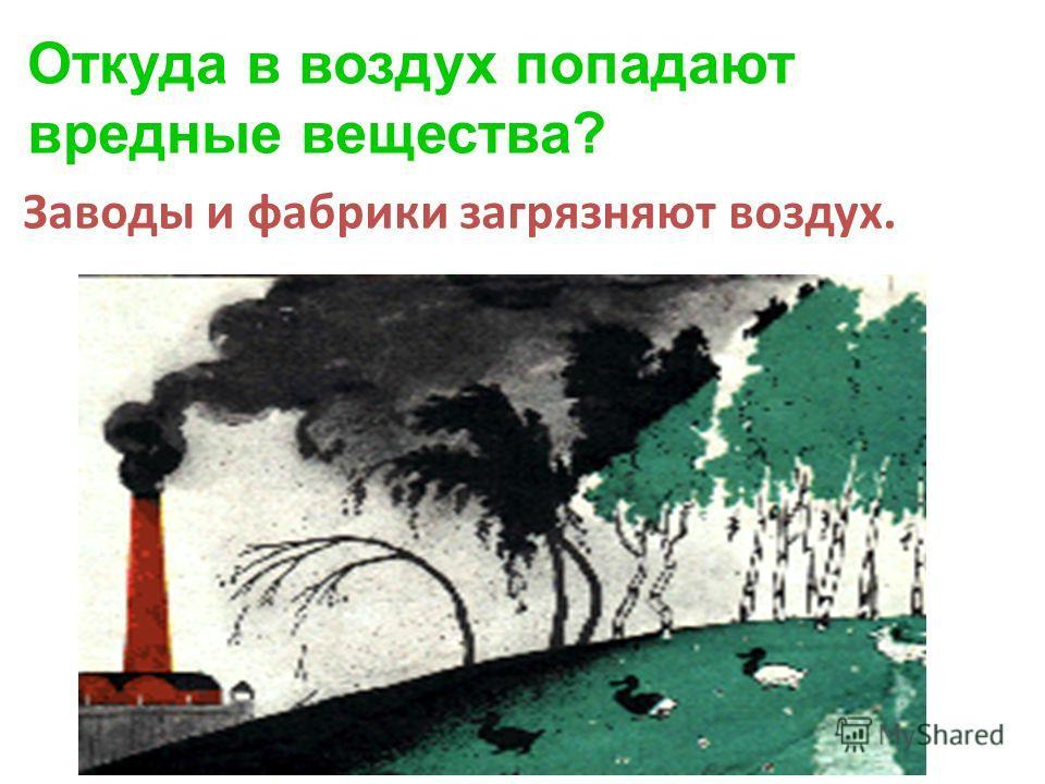 Откуда в воздух попадают вредные вещества? Заводы и фабрики загрязняют воздух.
