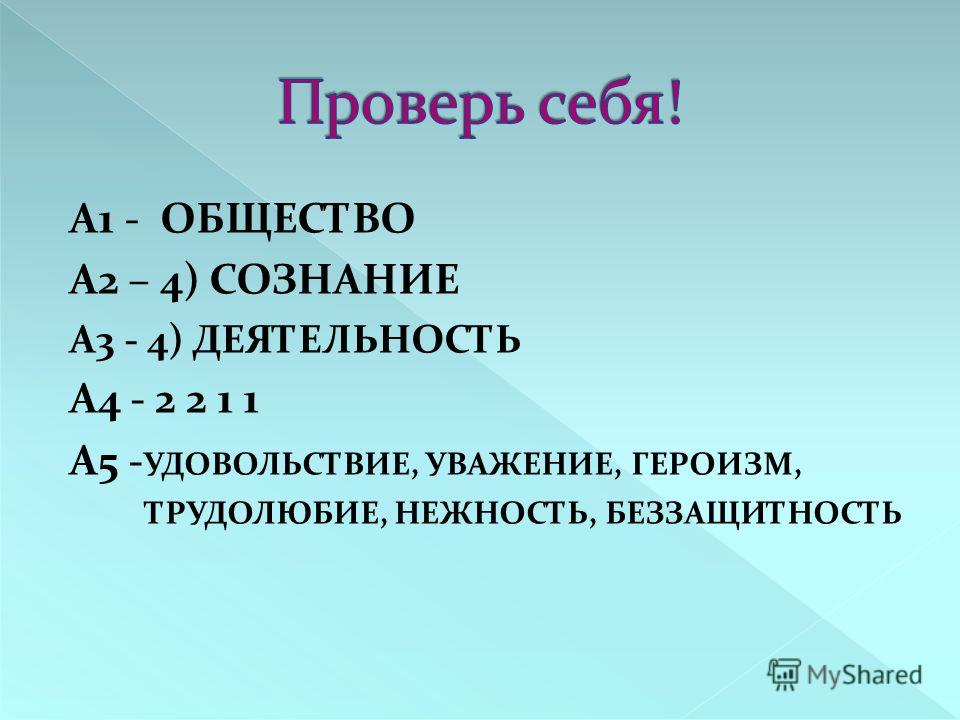 А1 - ОБЩЕСТВО А2 – 4) СОЗНАНИЕ А3 - 4) ДЕЯТЕЛЬНОСТЬ А4 - 2 2 1 1 А5 - УДОВОЛЬСТВИЕ, УВАЖЕНИЕ, ГЕРОИЗМ, ТРУДОЛЮБИЕ, НЕЖНОСТЬ, БЕЗЗАЩИТНОСТЬ