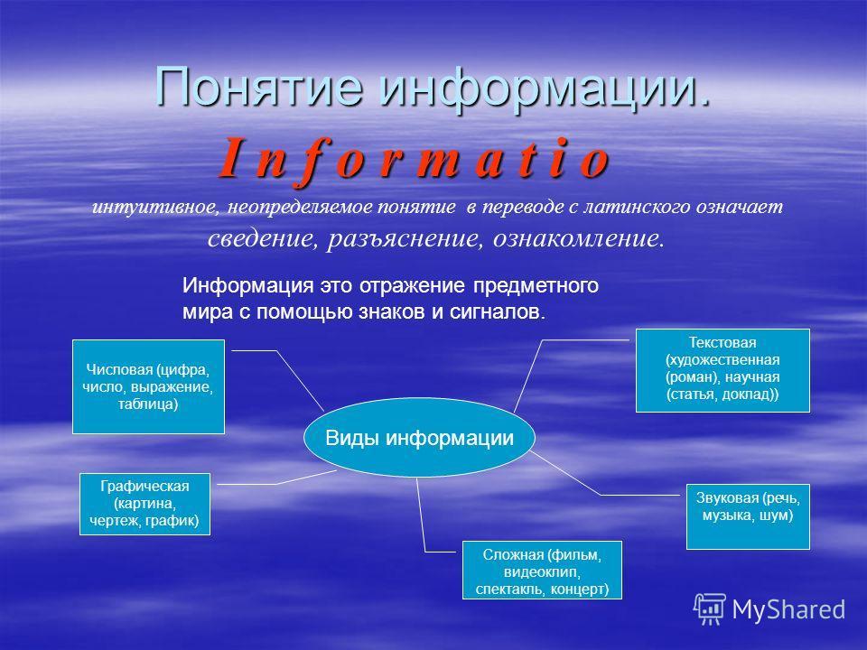 Понятие информации. I n f o r m a t i o интуитивное, неопределяемое понятие в переводе с латинского означает сведение, разъяснение, ознакомление. Информация это отражение предметного мира с помощью знаков и сигналов. Числовая (цифра, число, выражение