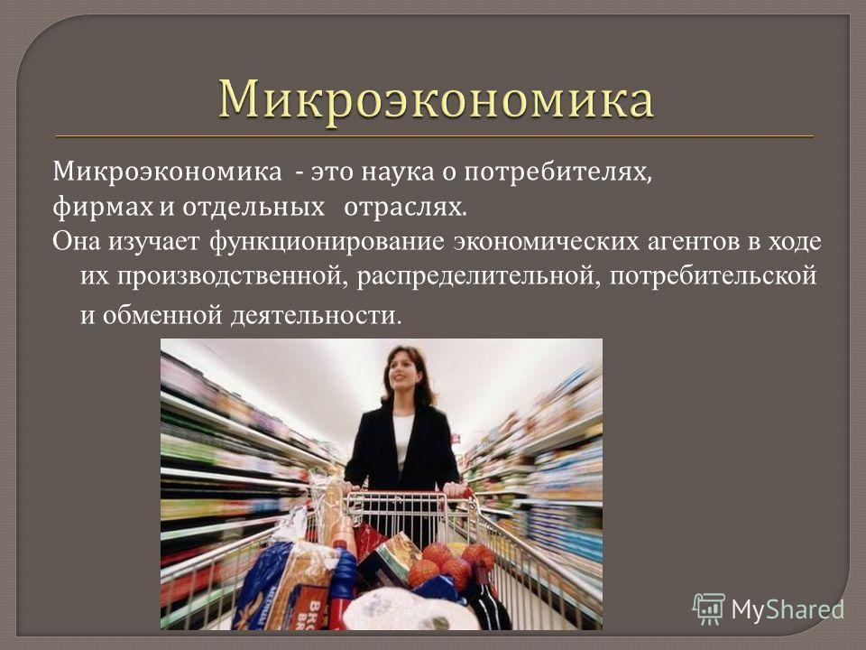 Микроэкономика - это наука о потребителях, фирмах и отдельных отраслях. Она изучает функционирование экономических агентов в ходе их производственной, распределительной, потребительской и обменной деятельности.