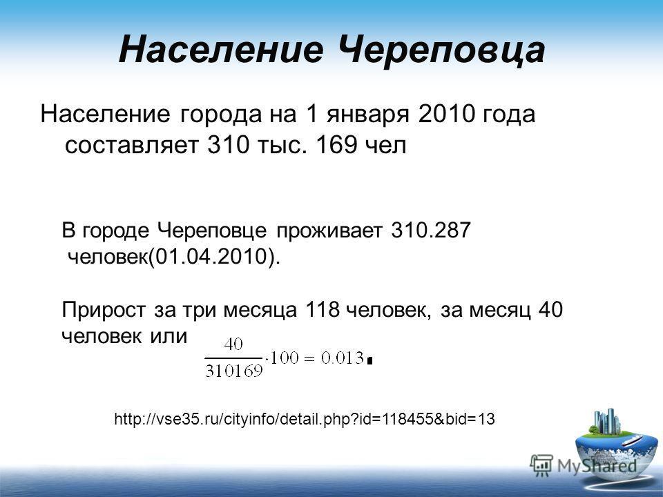 Население Череповца Население города на 1 января 2010 года составляет 310 тыс. 169 чел В городе Череповце проживает 310.287 человек(01.04.2010). Прирост за три месяца 118 человек, за месяц 40 человек или http://vse35.ru/cityinfo/detail.php?id=118455&