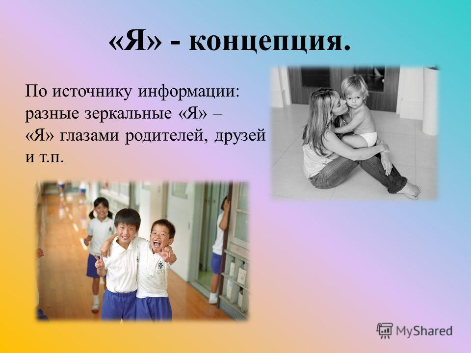 По источнику информации: разные зеркальные «Я» – «Я» глазами родителей, друзей и т.п. «Я» - концепция.
