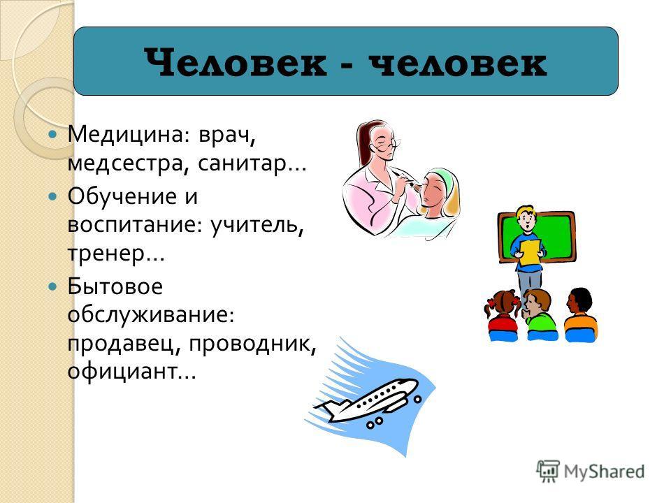 Медицина : врач, медсестра, санитар … Обучение и воспитание : учитель, тренер … Бытовое обслуживание : продавец, проводник, официант … Человек - человек