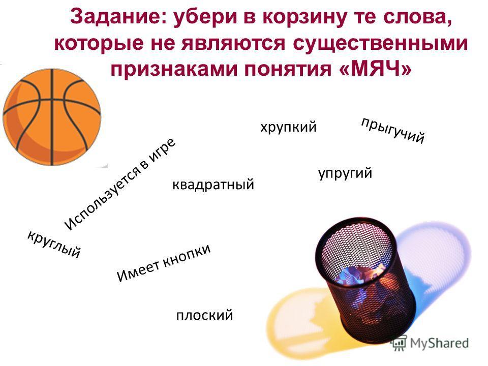 Задание: убери в корзину те слова, которые не являются существенными признаками понятия «МЯЧ» Используется в игре плоский квадратный круглый хрупкий упругий прыгучий Имеет кнопки