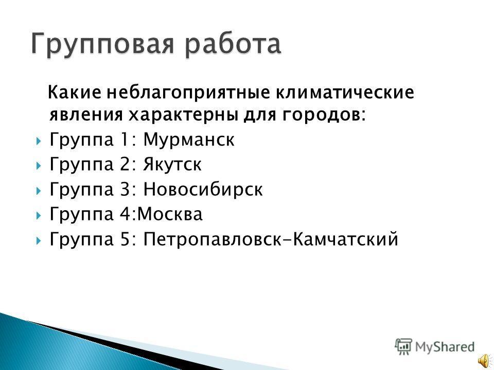 Какие неблагоприятные климатические явления характерны для городов: Группа 1: Мурманск Группа 2: Якутск Группа 3: Новосибирск Группа 4:Москва Группа 5: Петропавловск-Камчатский