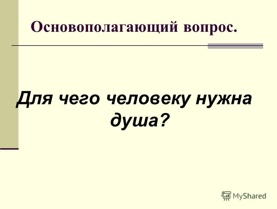 Основополагающий вопрос. Для чего человеку нужна душа?
